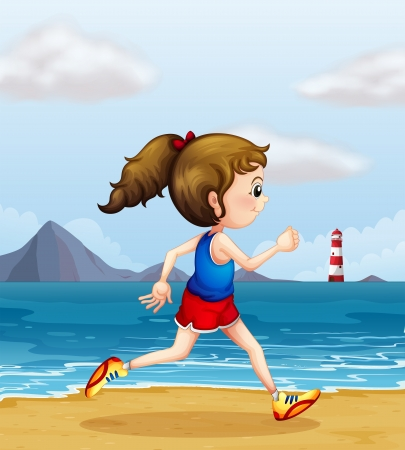 sideview: Illustration of a girl jogging at the beach
