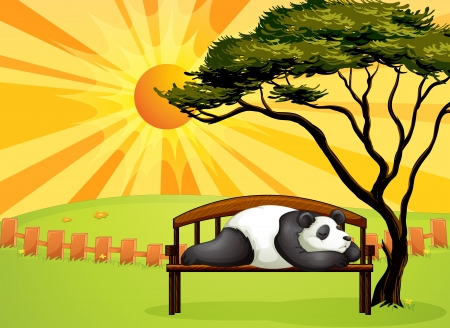 Illustration of a bear sleeping on a bench and a beautiful landscape Vector