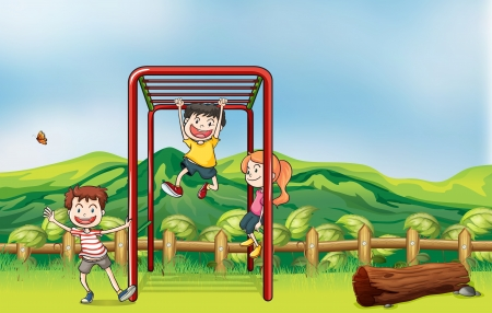 Illustration of kids playing monkey bar and a dry wood Vector