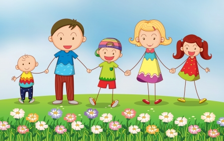 kids garden: Illustration of a family in the garden