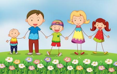 familia en jardin: Ilustraci�n de una familia en el jard�n