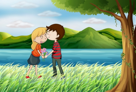 love pic: Illustration of lovers near the river Illustration