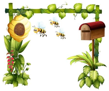 colmena: Ilustración de las abejas en el jardín con un buzón en un fondo blanco