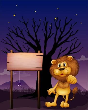 Illustration of a lion and the wooden signboard in a dark neighborhood Stock Vector - 17896067