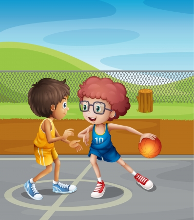 boy basketball: Illustration of two boys playing basketball at the court