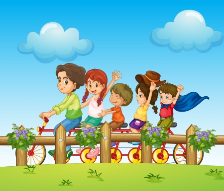 Illustration of children riding on a bicycle Vector