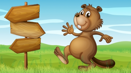 Illustration of a beaver in the hills near the wooden signboard Vector