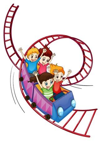 Illustration des enfants courageux équitation dans un tour de montagnes russes sur un fond blanc