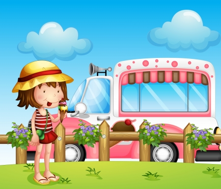 Illustration of a little girl and the ice cream bus Vector