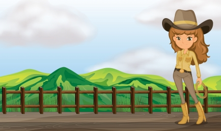 country girl: Illustration of a cowgirl in the bridge Illustration