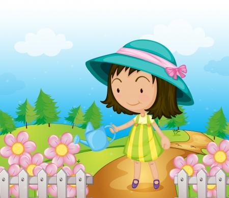 regando el jardin: Ilustraci�n de una ni�a que riega las flores