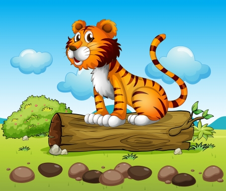 Illustration of a tiger and the trunk of a tree Stock Vector - 17895445