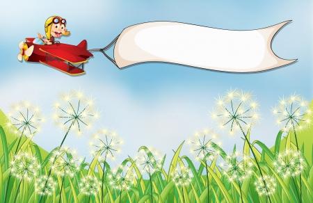 avion caricatura: Ilustraci�n de un mono en un avi�n con una bandera vac�a