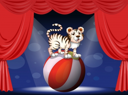 Illustration of a tiger performing at the circus