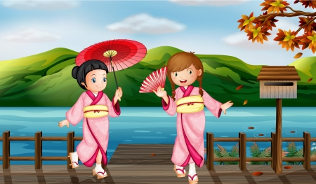 Illustration of girls wearing a kimono attire