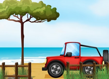 4wd: Illustration of a red jeepney at the beach Illustration