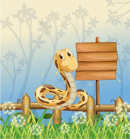 grass snake: Illustration of a snake at the fence