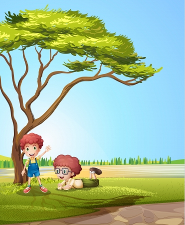 Illustration of smiling kids under a tree Stock Vector - 17895766