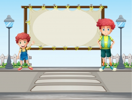 Illustration of two boys near the lamp post Vector