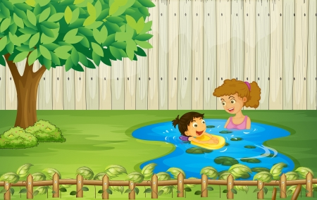 Illustration of kids swimming in a pond Vector