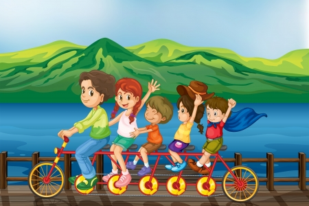 pedaling: Illustration of kids biking at the bridge
