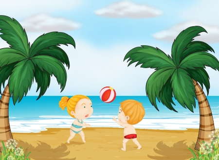 brothers: Illustration of kids playing ball on a beach