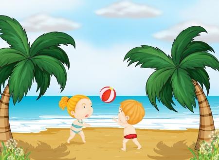 beach ball girl: Illustration of kids playing ball on a beach
