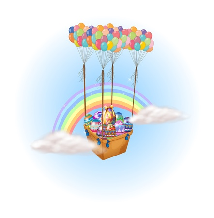 gift basket: Illustration of easter eggs carried by a group of hot air balloons on a white background