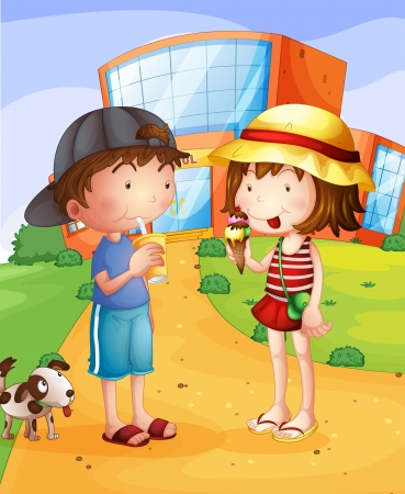 Ilustration of a boy and a girl having a conversation  Vector