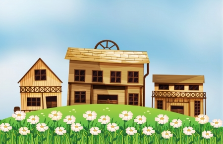 wooden houses: Illustration of the different styles of wooden houses