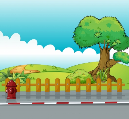 Illustration of a fire hydrant and a beautiful landscape Stock Vector - 17896468