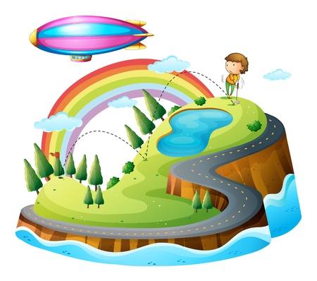blimp: Ilustraci�n de un muchacho que juega golf y un dirigible