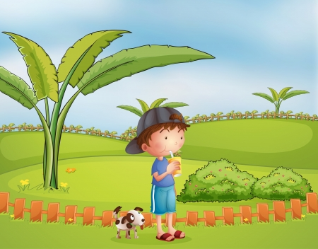 Illustration of a boy with a dog at the park Vector