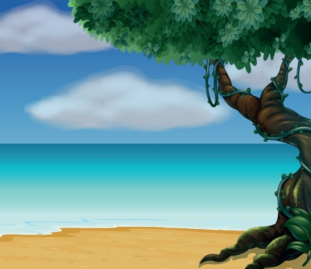fig tree: Illustration of a tree and a beautiful beach