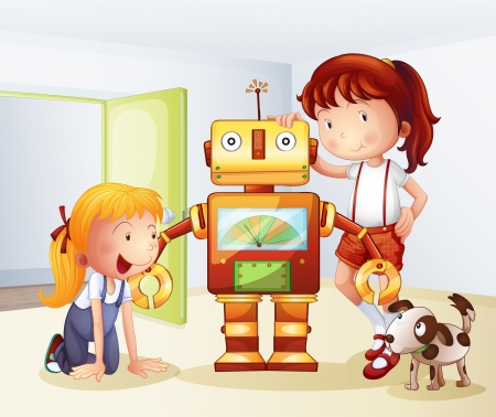 children room: Illustration of two girls, a dog and a robot on a white background