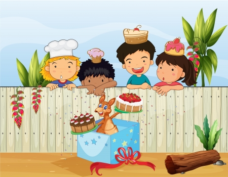 Illustration of kids and the different cakes Vector