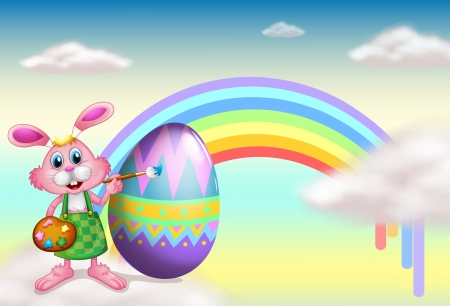 good friday: Illustration of a rabbit and a rainbow in the sky Illustration