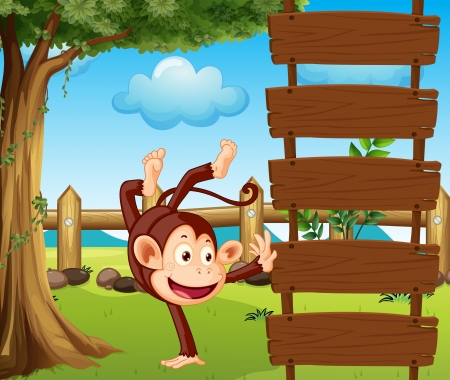 Illustration of a dancing monkey and a beautiful nature Vector