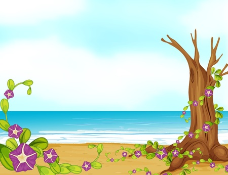 Illustration of a leafless tree on a beautiful beach Vector