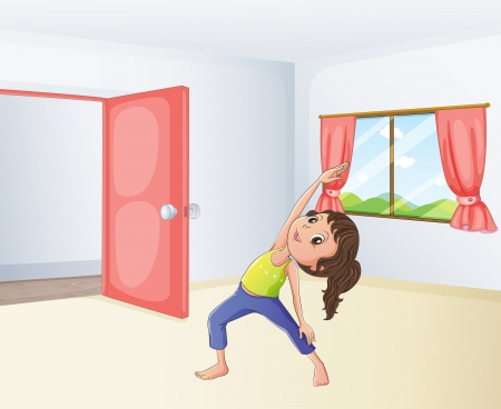 glass door: Illustration of a girl exercising in a room