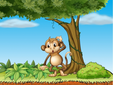 blue sky thinking: Illustration of a monkey under a big tree