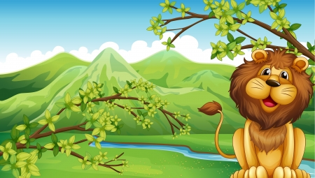 Illustration of a lion and a mountain in a forest Vector