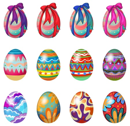 Illustration of easter eggs with designs and ribbons on a white background Vector