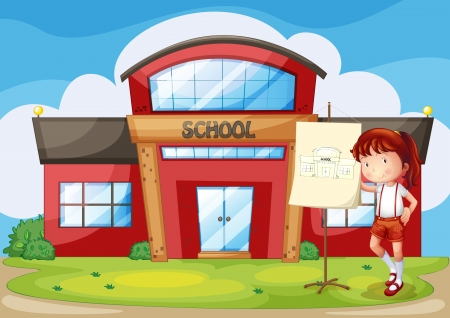 closed door: Illustration of a smiling girl standing in front of a school Illustration