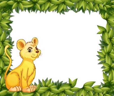 animal frame: Illustration of a young tiger and the leafy frame