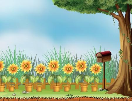 case colorate: Illustrazione di una lettera di scatola e vaso di fiori in un giardino