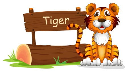 Illustration of a notice board and a smiling tiger on a white background Vector