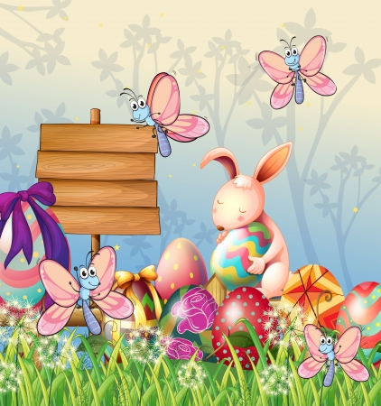 Illustration of the bunny and the butterflies in the garden with Easter eggs Vector