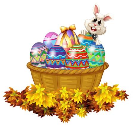 huevo caricatura: Ilustraci�n de una cesta llena de huevos de Pascua y un conejito en un fondo blanco Vectores