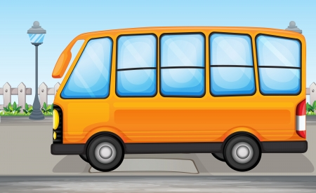 tour bus: Illustration of a yellow bus on the road